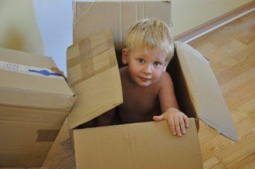Cute Little Boy in a box
