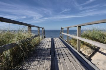 Bridge overlooking sea and sky
